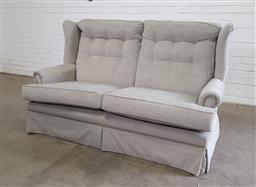 Sale 9151 - Lot 1327 - Fabric 2 seater wing back lounge (h:106 x w:173cm)