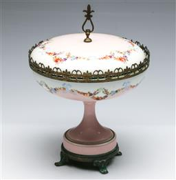 Sale 9173 - Lot 35 - A brass and ceramic floral themed comport with gilt highlights (H:27cm)