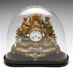 Sale 9255S - Lot 31 - A Gilt metal French mantle clock in glass dome Height 33cm