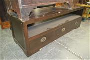 Sale 8165 - Lot 1076 - Timber 3 Drawer Entertainment Unit