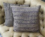 Sale 8205 - Lot 37 - A pair of Fendi taupe and gold abstract cushions