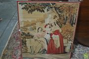 Sale 8323 - Lot 1027 - Victorian Needle Work Panel, of three ladies in a garden palace (stretcher loose)
