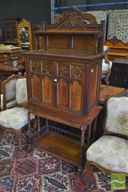 Sale 8335 - Lot 1079 - Victorian Oak Gothic Style Gillows of Lancaster Collectors Cabinet, probably designed by Bruce James Talbert (1838-1881), with carv...