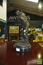 Sale 8380 - Lot 1059 - Bronze Statue of Golfer on Marble Base