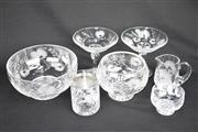 Sale 8396C - Lot 42 - Stuart Floral Pattern 7 Piece Crystal Suite incl Pair Of Compotes & Graduated Bowls