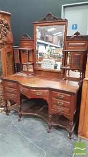 Sale 8404 - Lot 1004 - Victorian Curved Front Mirrored Back Dresser