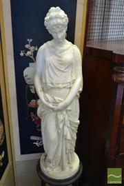Sale 8520 - Lot 1006 - Calypso Possibly by Prosper dEpinay (French 1836-1914) Carved Marble Figure, of a classical Greek woman with her arms gathering h...