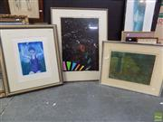 Sale 8563T - Lot 2227 - 3 Works: P.Graham Abstract Print SLR, Leonie A Deane Escape to the Unknown Print SLR & Black Abstract Print Unsigned