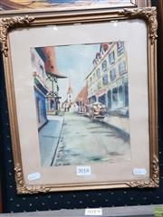Sale 8645 - Lot 2018 - Maud OMally Normandy Street Scene watercolour 33 x 27.5cm (frame size) unsigned -