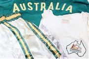 Sale 8733 - Lot 7 - 1956 Melbourne Olympics Robe Shorts & Vest of Leslie Fadgyas