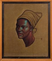 Sale 8703A - Lot 77 - VG Tretchikoff 1913 - 2006, Print, Head of an African woman 1952, frame size H x 68 x 58cm
