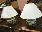 Sale 8740 - Lot 1600 - Pair of Large Blue & Yellow Ginger Jar Shape Table Lamps (3310)