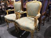 Sale 8795 - Lot 1074 - Pair of French Style Gilt Carver Chairs