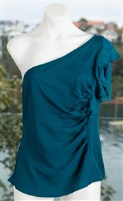 Sale 9044H - Lot 40 - A Nanettel Lapore skip school off the shoulder top in teal silk, size US 12 (new with tags)