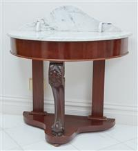 Sale 9090H - Lot 3 - A Victorian mahogany marble top demilune console table or wash stand. Height 72cm x Width 88cm x Depth 46cm