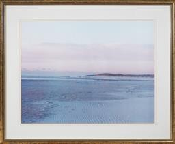 Sale 9108H - Lot 96 - A large framed photograph of a beach at low tide, Frame size 64cm x 78.5cm