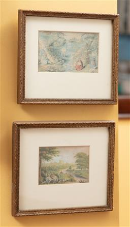 Sale 9120H - Lot 143 - A pair of c18th style framed prints of fashionable pursuits, frame size 14cm x 16cm