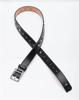 Sale 9253J - Lot 402 - BALLY BLACK LEATHER BELT; 3cm wide belt with silver tone buckle ans studs, stamped BALLY Switzerland Made in Italy 90/36 GOTE 30M GUPB.