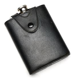 Sale 9238 - Lot 42 - A Baccarat stainless steel flask in pouch (L:14cm)