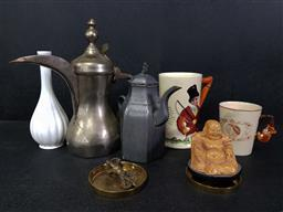 Sale 9254 - Lot 2208 - A group of sundries incl. two teapots, a vase, two mugs, a Buddha on stand and small brass wares
