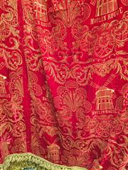 Sale 8222 - Lot 51 - A red brocade curtain with gold tassles, drop 260 x width 500cm Film Provenance; Moulin Rouge