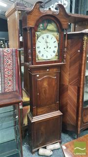 Sale 8375 - Lot 1007 - A Regency Mahogany Longcase Clock with painted dial signed Richard Musgrave Wigton painted with beucollic scene and allegories of th...