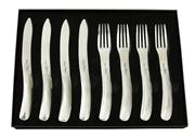Sale 8401B - Lot 34 - Laguiole by Louis Thiers Organique 8-piece Steak Knife & Fork Set In Polished Finish RRP $250