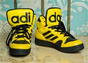 Sale 8420A - Lot 80 - A pair of Jeremy Scott x Adidas originals JS Instinct Hi, with super bold tongue, size 7.5, condition: as new very good