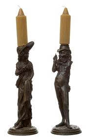 Sale 8530A - Lot 56 - A pair of French 'Cyrano de Bergerac' caricature metal candlesticks (includes tapers), height 38cm (inc. tapers)