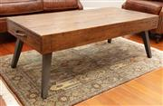 Sale 8863H - Lot 7 - A mid-century style fruitwood coffee table with angled metal style legs, Height 45cm, Width 120cm, Depth 68cm