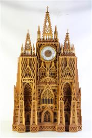 Sale 8989 - Lot 10 - An Intricately Carved Clock Depicting York Minster Cathedral (106cm x 60cm x 20cm)