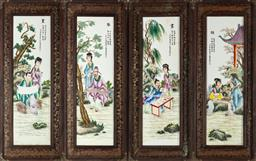 Sale 9093 - Lot 98 - A Set of Four Chinese Framed Tile Panels Depicting Leisurely Pursuits. Frame size Height 92 x width 37cm