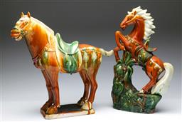 Sale 9098 - Lot 439 - Tang style Horse (H42cm) together with a rearing example (H45.5cm)