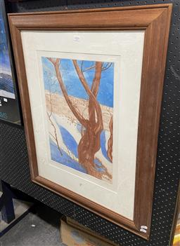 Sale 9094 - Lot 2063 - Edith Cowlishaw The Dance II, colour etching, frame: 86 x 67 cm, signed
