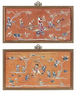 Sale 9135H - Lot 94 - A pair of exquisite, Antique Chinese silk embroideries, framed sizes 27 x 47 and 35 x 47 cm