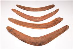 Sale 9122 - Lot 137 - A Group Of Aboriginal Boomerangs Etched With Patterns (4) (Longest L: 72cm)