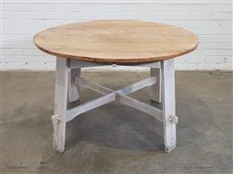 Sale 9151 - Lot 1192 - French style pine top dining table (h:76 x d:122cm)