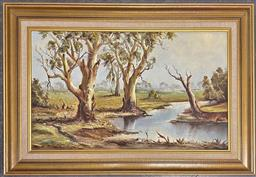 Sale 9176 - Lot 2162A - E. Sampt Creek & Gum Trees, oil on board, frame: 63 x 93 cm, signed lower right