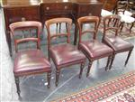 Sale 7919A - Lot 1734 - Set of 4 Late Victorian Mahogany Chairs with Burgundy Upholstery