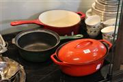 Sale 8086 - Lot 89 - Le Creuset Saucepan, Waterford Casserole Dish & Another Cast Iron Saucepan