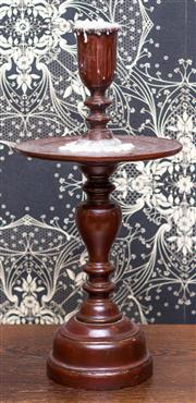 Sale 8222 - Lot 66 - An oriental red lacquered candle stand with drip tray, H 49cm