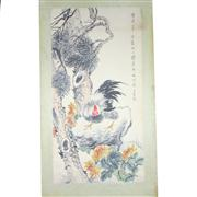 Sale 8268 - Lot 16 - Wang Yun Signature Chicken on a Rock Watercolour Scroll