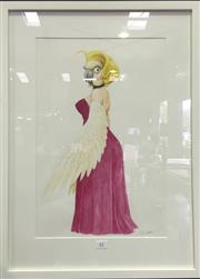 Sale 8222 - Lot 61 - Artist Unknown, Cockatoo in Evening Wear, image size 49 x 32cm, signed lower right Provenance; Designed for Fox Backlot