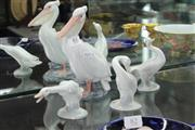 Sale 8339 - Lot 83 - Lladro Set of 3 Geese with a Ceramic Pelican