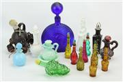 Sale 8405 - Lot 9 - Art Glass Decanter with Other Coloured Glass Perfume Bottles & Decanters