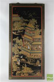 Sale 8524 - Lot 15 - Black Lacquered Pair Of Chinese Panels Depicting Village Scene