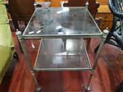 Sale 8744 - Lot 1093 - Glass Top Side Table with Brass Frame (83 x 36cm) -