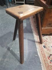 Sale 8760 - Lot 1028 - Timber Three Leg Potters Stool