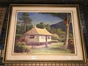 Sale 8779 - Lot 2095 - Artist Unknown - Tropical Scene, oil on board, SLR