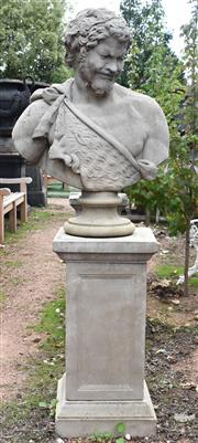 Sale 8950G - Lot 62 - A English Haddonstone bust on plinth of Bacchus with fine aged patina 1.72m Height